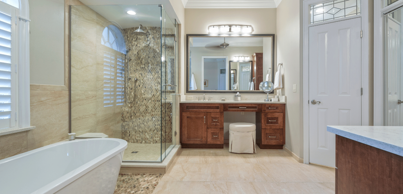completed bathroom remodel in thousand oaks with a vanity