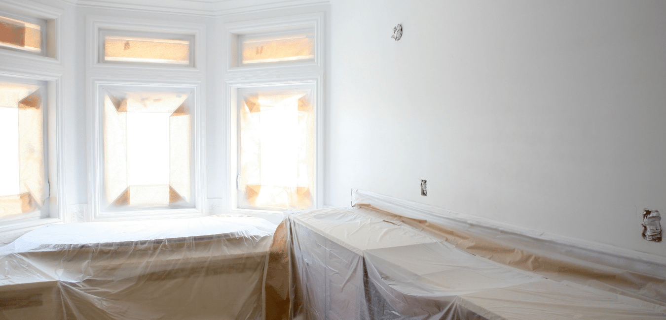 painting and drywall repair during bathroom renovation