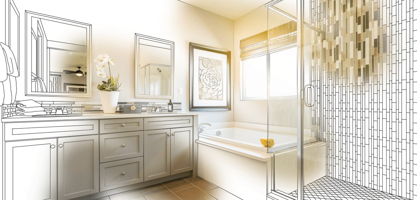 sketch up of bathroom design for our client